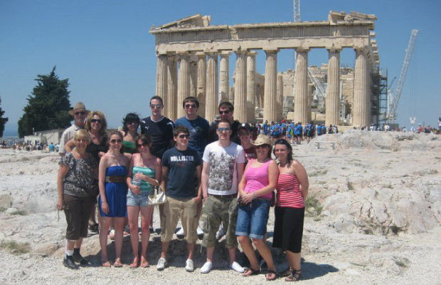 At the top of the Acropolis in Athens, Greece